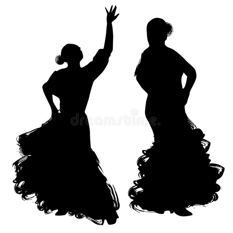 Donna nel soggiorno lungo del vestito nella posa di dancing regioni di Spanish del ballerino di flamenco di Andalusia, Estremadur illustrazione di stock