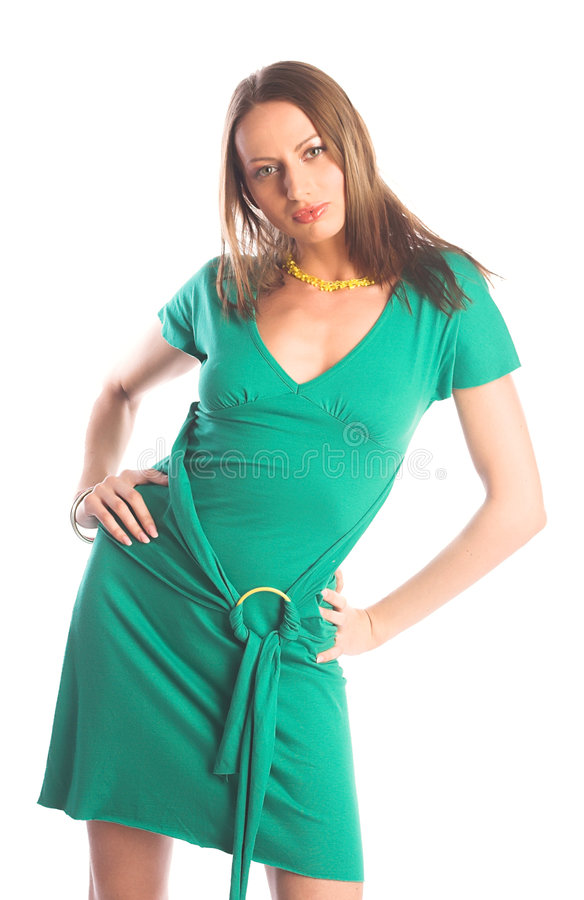 Donna nel verde immagine stock