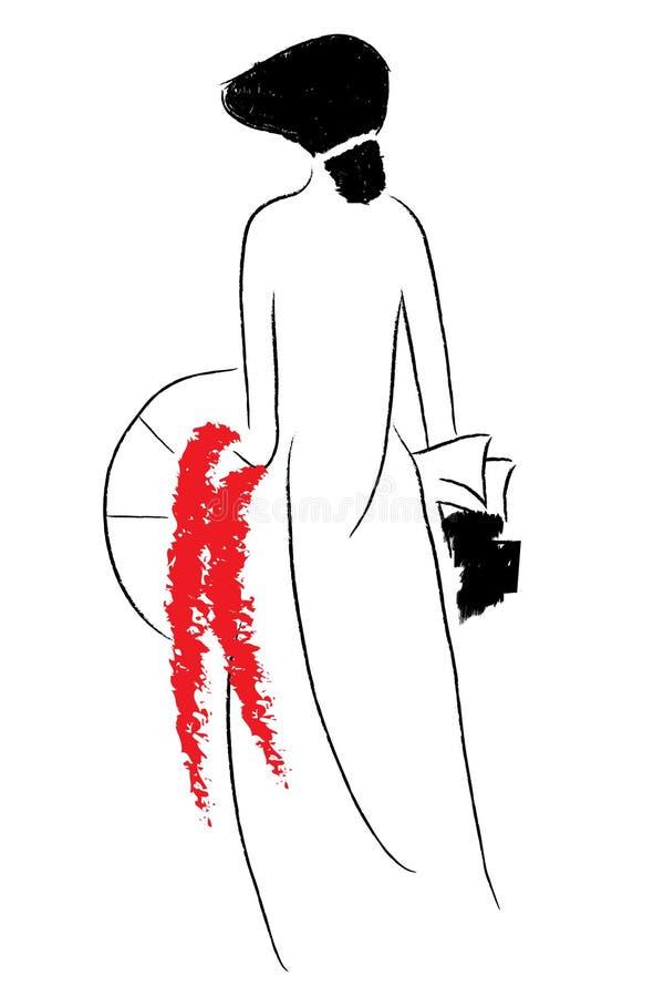 Donna nell'illustrazione rossa di vettore illustrazione di stock