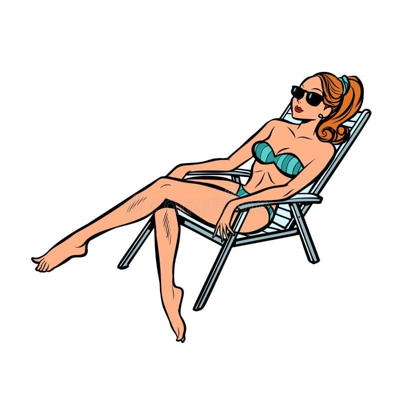 Donna nell'isolato prendente il sole del costume da bagno su fondo bianco illustrazione di stock