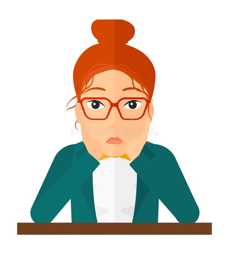 Donna nella disperazione che innesta il suo capo illustrazione di stock