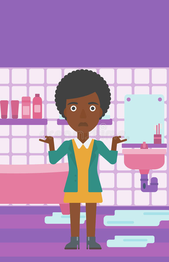 Donna nella disperazione che sta vicino al lavandino colante royalty illustrazione gratis