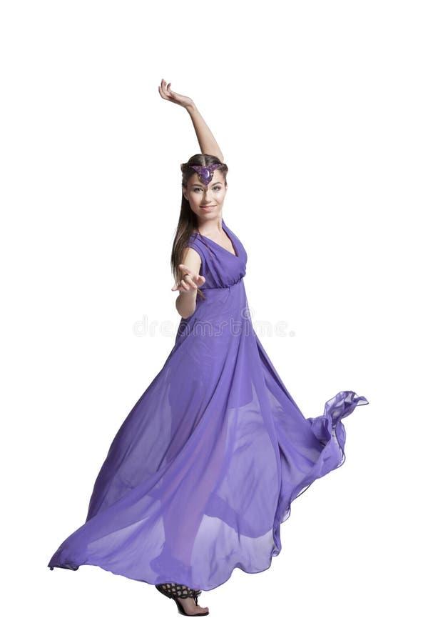 Donna nella filatura del vestito immagini stock libere da diritti