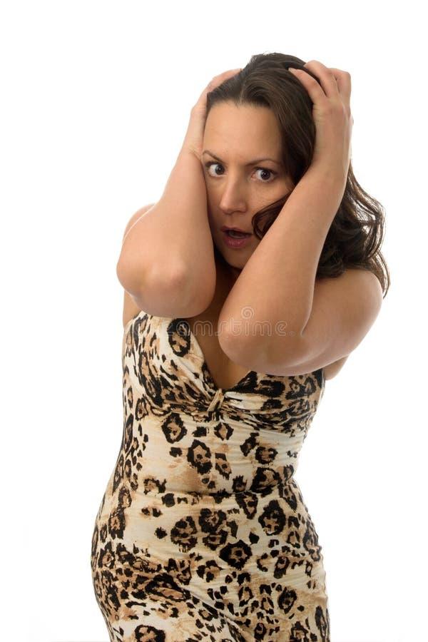 Donna nella grande sorpresa fotografie stock