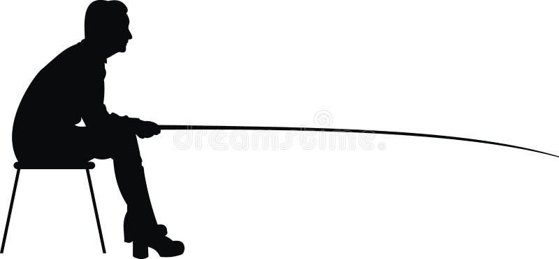 Donna nella pesca. illustrazione di stock
