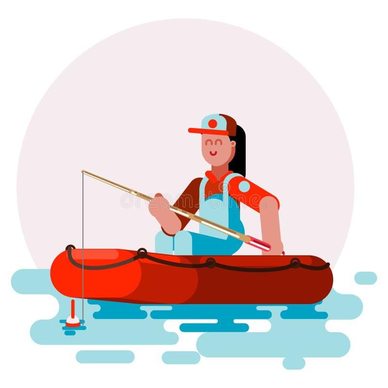Donna nella prova della barca al cofanetto un pesce royalty illustrazione gratis