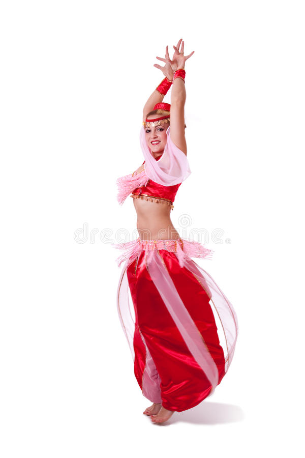 Donna nella retro filatura del costume di ballo di pancia fotografia stock