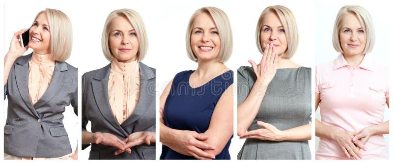 Donna nelle situazioni differenti Bella donna di mezza età in collage di gioia fotografia stock libera da diritti