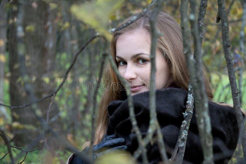 Donna nello sguardo nero della pelliccia attraverso Autumn Branches fotografia stock