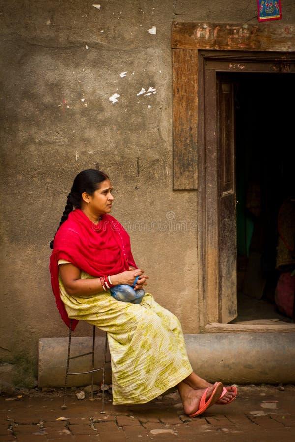 Donna nepalese di Kathmandu, Nepal fotografia stock