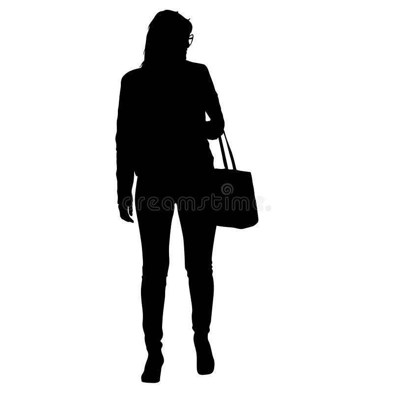 Donna nera che sta con una borsa, la gente della siluetta su fondo bianco illustrazione vettoriale