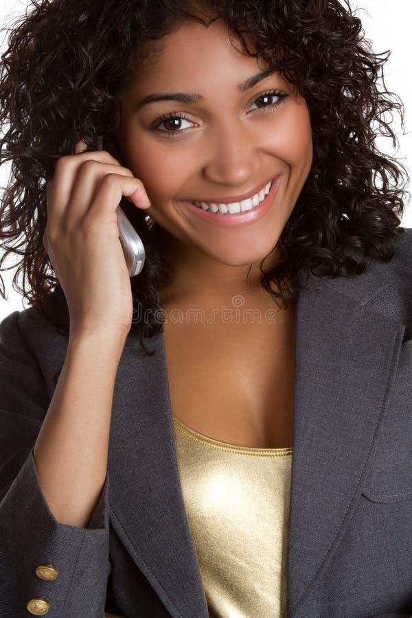 Donna nera del telefono fotografia stock libera da diritti