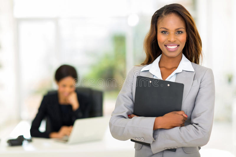 Donna nera di affari fotografie stock libere da diritti