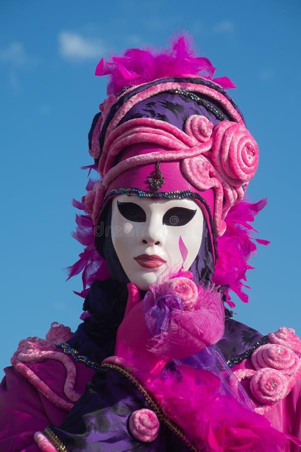 Donna non identificata con la maschera al carnevale, Venezia fotografia stock