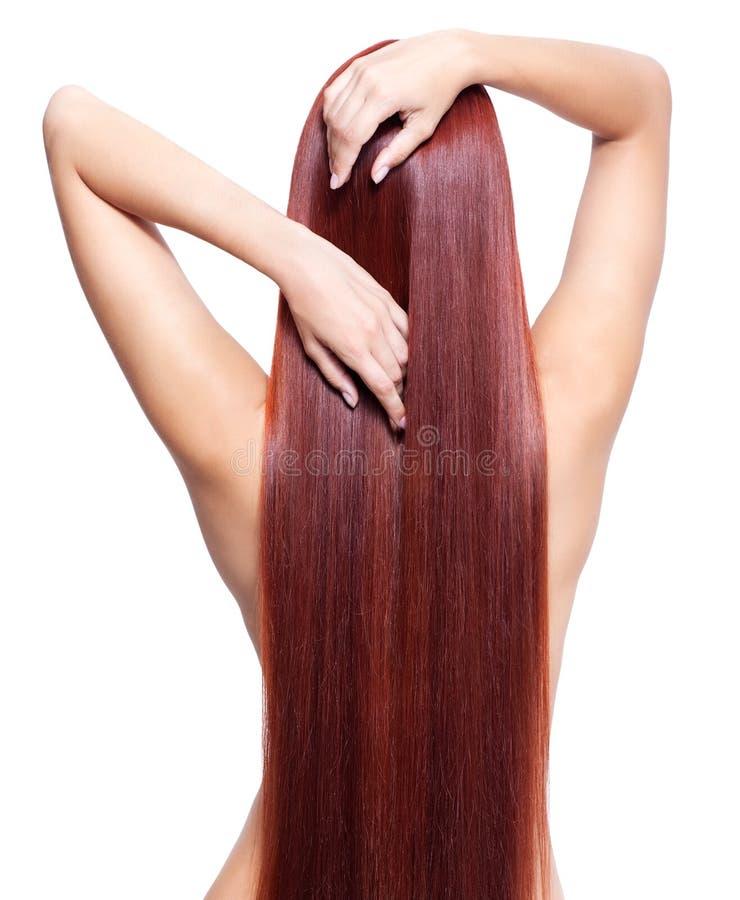Donna nuda con capelli rossi lunghi immagini stock libere da diritti