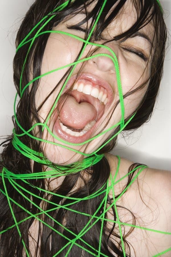 Donna nuda limitata con stringa. immagine stock libera da diritti