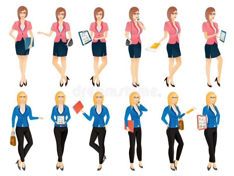 Donna o segretario sexy di affari del fumetto giovane in varie pose royalty illustrazione gratis