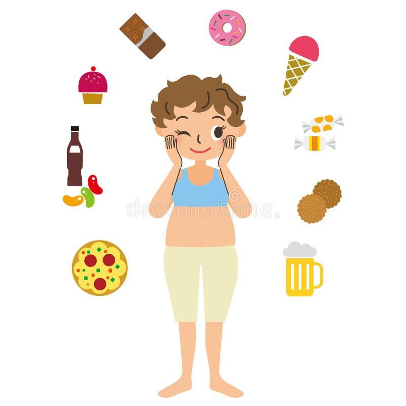 Donna obesa con l'appetito illustrazione di stock