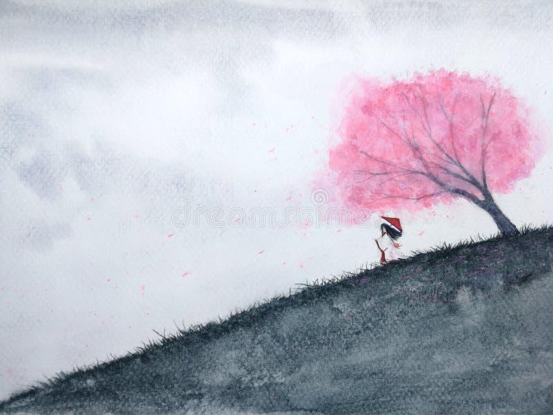 Donna orientale tradizionale che aspetta qualcuno sotto il fiore di ciliegia o sakura nel campo Paesaggio dell'acquerello royalty illustrazione gratis