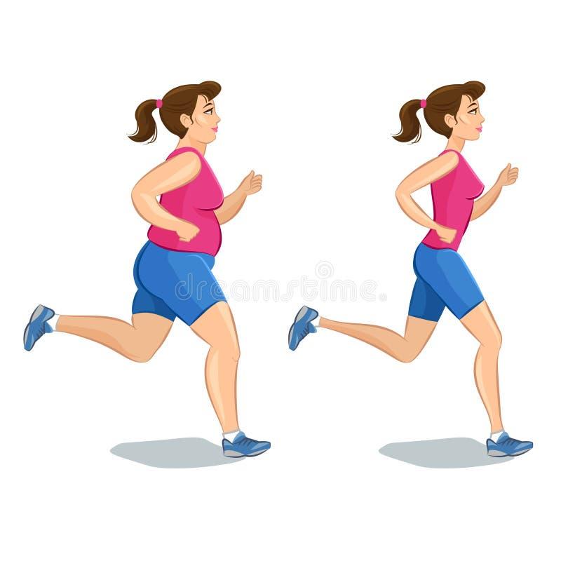 Donna pareggiante sportiva, prima e dopo, peso di perdita illustrazione vettoriale