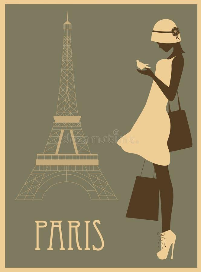 Donna a Parigi illustrazione vettoriale