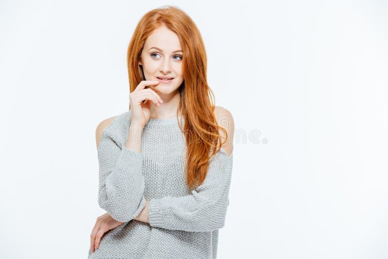 Donna Pensive di redhead fotografia stock libera da diritti