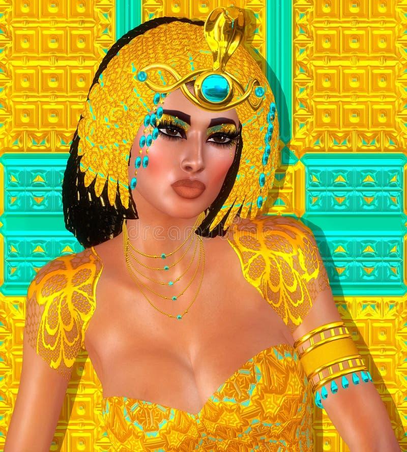 Donna, perle, bellezza ed oro egiziani nella nostra scena digitale di fantasia di arte royalty illustrazione gratis