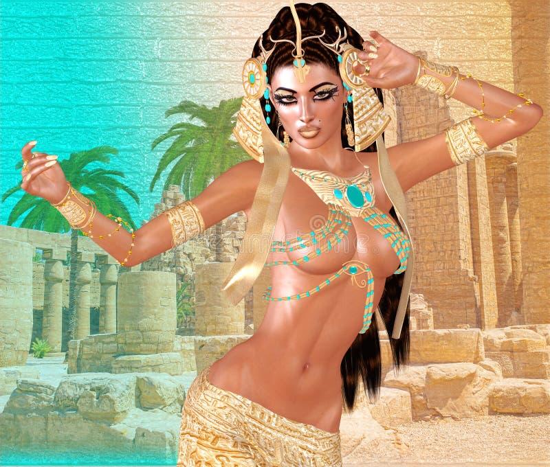 Donna, perle, bellezza ed oro egiziani nella nostra scena digitale di fantasia di arte illustrazione di stock