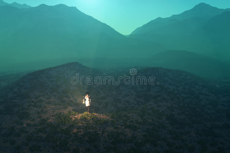 Donna persa nel deserto royalty illustrazione gratis