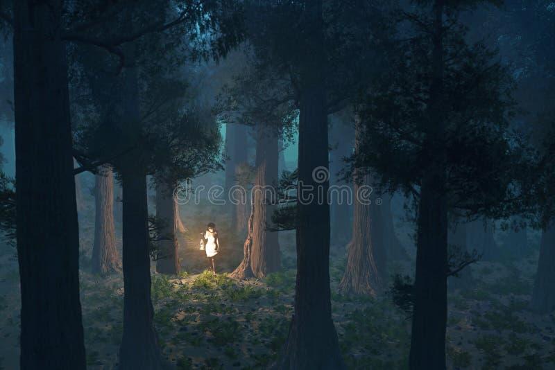 donna persa nella foresta royalty illustrazione gratis