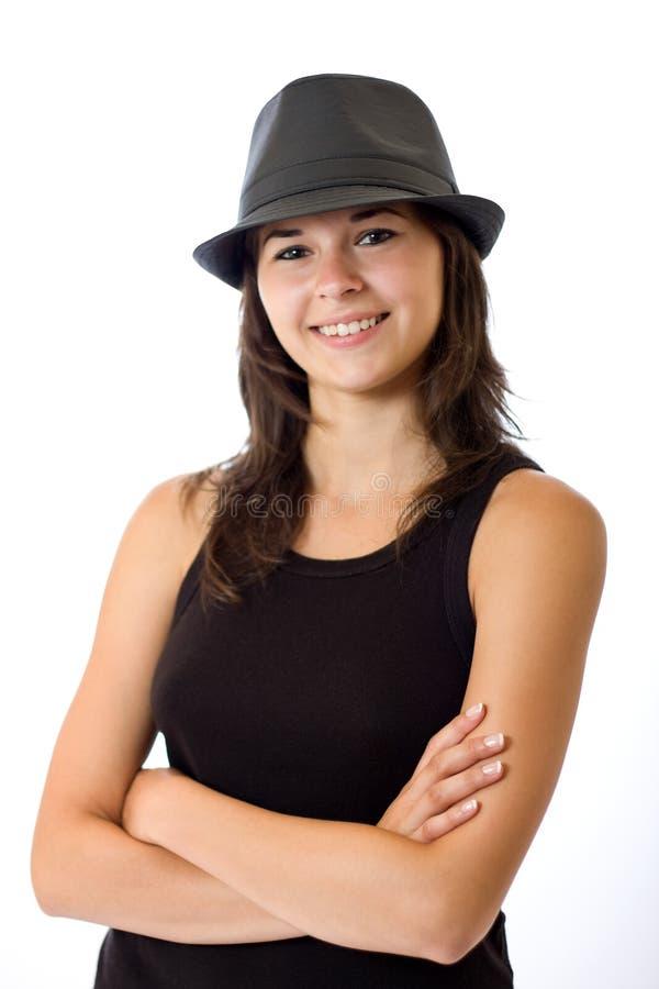 Donna piacevole in cappello immagini stock