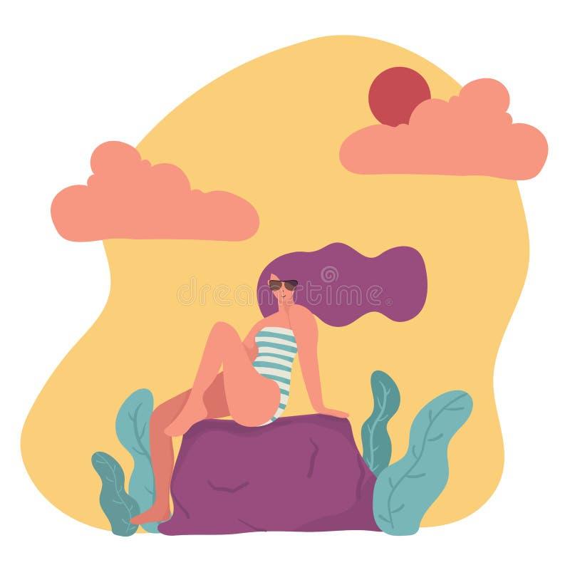 donna piana d'avanguardia del carattere di vettore in costume da bagno ed occhiali da sole illustrazione vettoriale