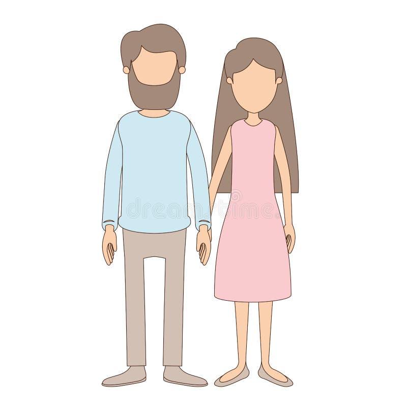 Donna piena anonima delle coppie del corpo di caricatura di colore leggero con capelli lunghi in vestito ed in uomo in abbigliame royalty illustrazione gratis