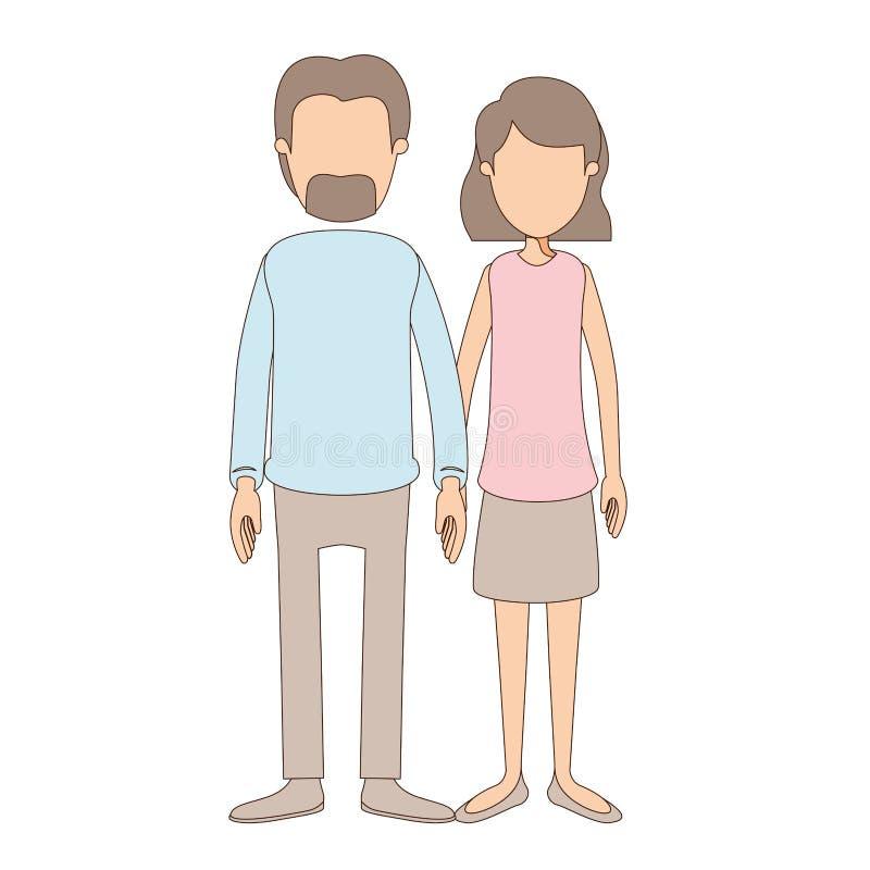 Donna piena anonima delle coppie del corpo di caricatura di colore leggero con i capelli di scarsità ondulati in gonna ed in uomo illustrazione di stock