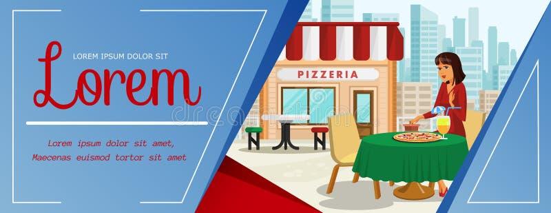 Donna pranzando all'illustrazione di colore della pizzeria illustrazione di stock