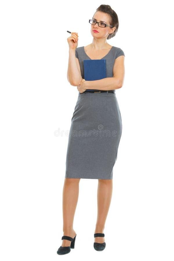 Donna premurosa dell'allievo con il taccuino e la penna immagini stock libere da diritti