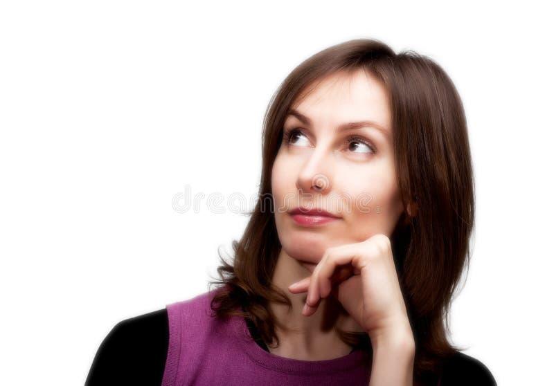 Donna premurosa guardando bianco verso l alto isolato