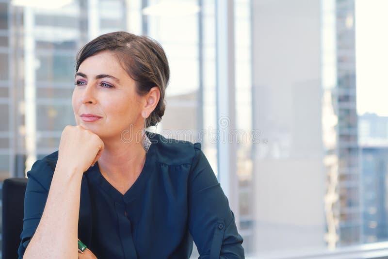 Donna professionale corporativa di affari nell'ufficio di città con il buildi fotografia stock libera da diritti