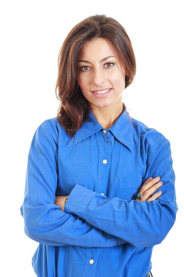 Donna professionale splendida di affari in camicia che esamina macchina fotografica immagini stock libere da diritti