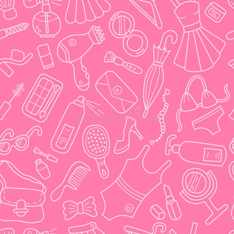 Donna Reticolo senza giunte Stile del fumetto e di scarabocchio profilo Colore rosa royalty illustrazione gratis