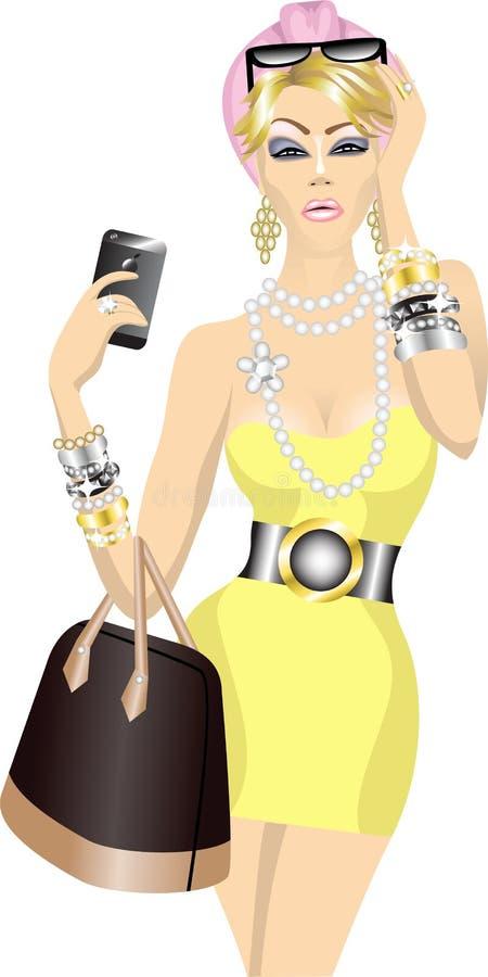 Donna ricca con il sacchetto ed il telefono mobile illustrazione di stock