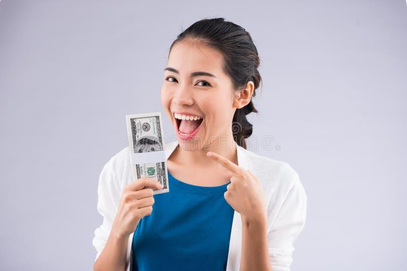 Donna ricca felice fotografia stock