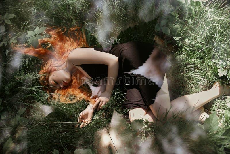 Donna romantica con capelli rossi che si trovano nell'erba nel legno Una ragazza nei sonni neri leggeri e nei sogni di un vestito immagini stock libere da diritti