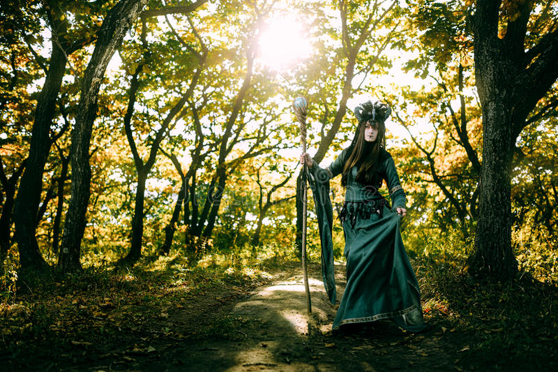 Donna-sciamano con i corni fotografia stock libera da diritti