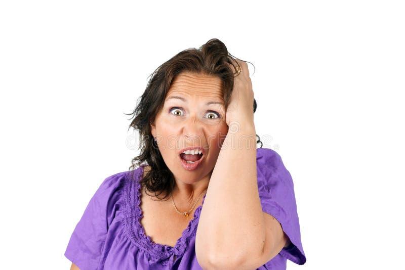 Donna scoraggiata divertente fotografie stock