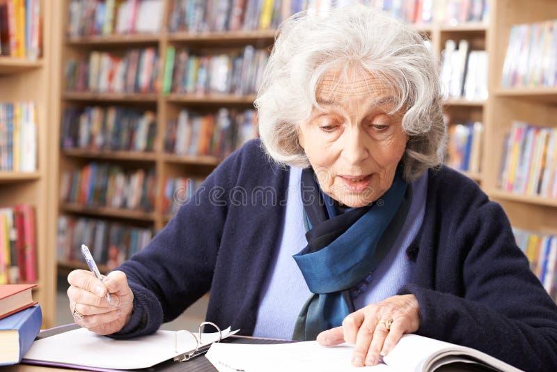 Donna senior che studia nella biblioteca immagini stock