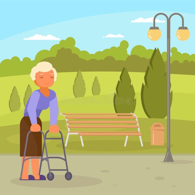 Donna senior disattivata vettore con la struttura di camminata illustrazione vettoriale