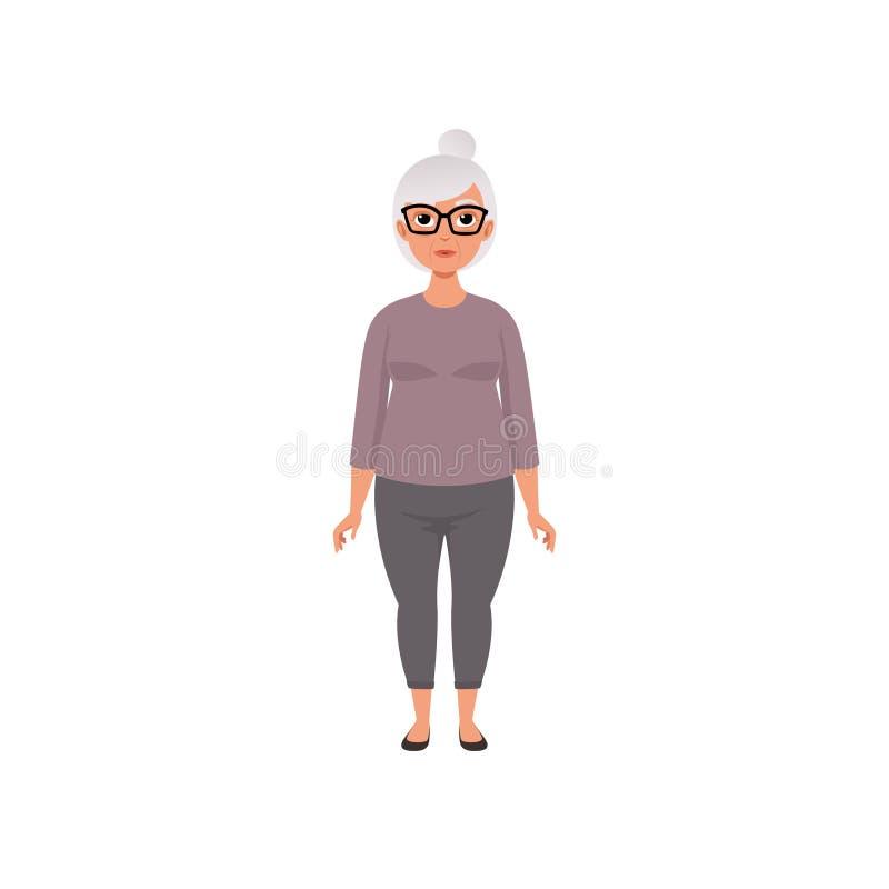 Donna senior, nonna, fase di crescere l'illustrazione di vettore di concetto su un fondo bianco royalty illustrazione gratis