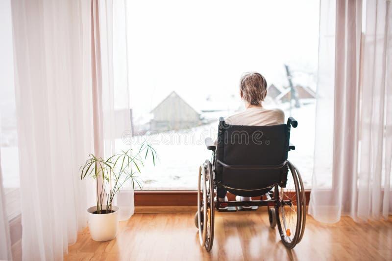 Donna senior in sedia a rotelle a casa fotografia stock