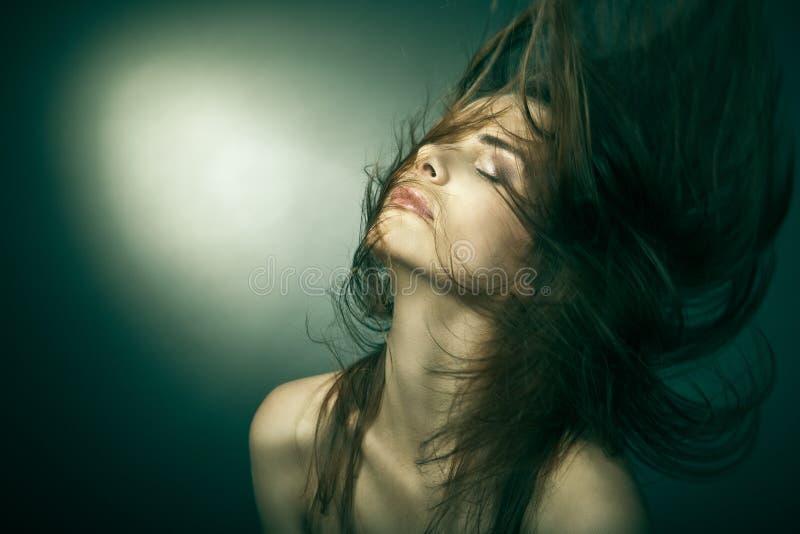 Donna sensuale con i bei capelli marroni lunghi immagine stock libera da diritti